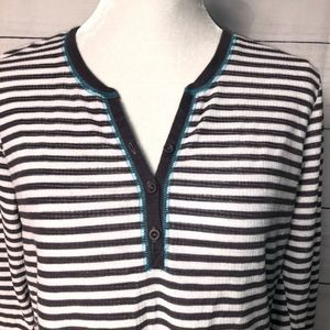 Betsy Johnson Grey/White Stripe LS Velvet Top-L